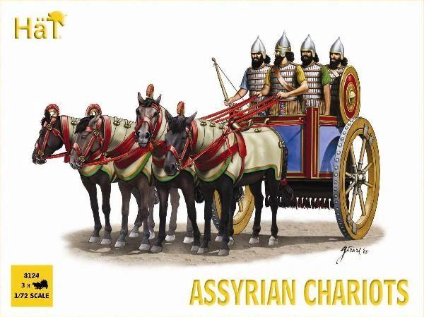 1/72 Assyrian Chariots (3 Sets: Chariot, 4ea Figs & Horses) - HAT-8124