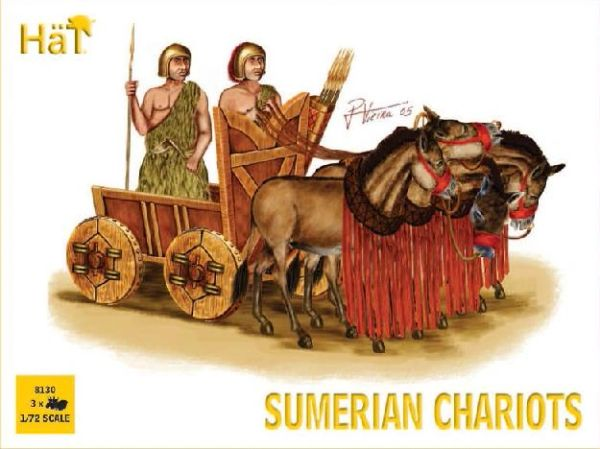 1/72 Sumerian Chariots (3 Sets: Chariot, 4 Horses & 2 Figs) - HAT-8130