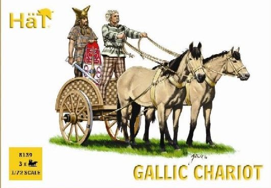 1/72 Gallic Chariot & Warriors (3 Sets: Chariot, 2 Horses & 3 Figs) - HAT-8139