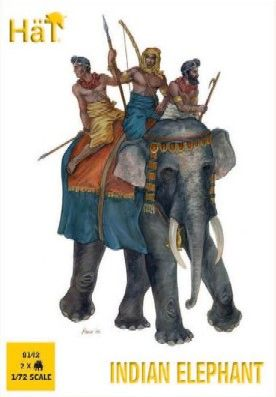 1/72 Indian Elephant (2 w/3 Figs) - HAT-8142