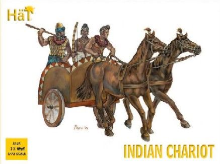 1/72 Indian Chariot & Warriors (3 Sets: Chariot, 2 Horses & 5 Figs) - HAT-8143