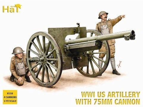 1/72 WWI US Artillery (48 w/4 75mm Cannons) - HAT-8158