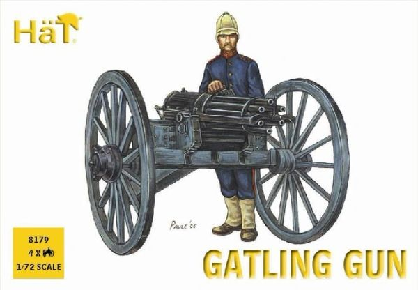 1/72 Colonial Wars Gatling Gun (4 w/24 Figs) - HAT-8179