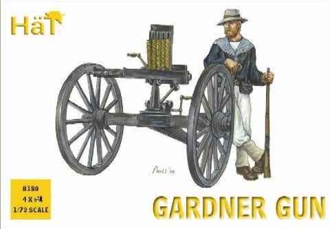 1/72 Colonial Wars Gardner Gun (4 w/24 Figs) - HAT-8180