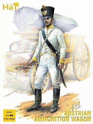 1/72 Napoleonic Austrian Horse Drawn Ammunition Wagon (3 Sets) - HAT-8225