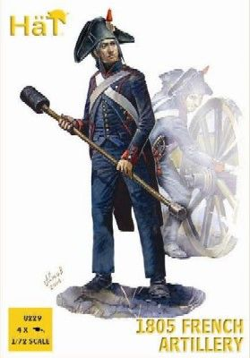 1/72 Napoleonic 1805 French Artillery (16 w/4 Cannons) - HAT-8229
