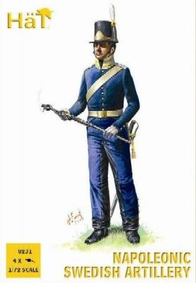 1/72 Napoleonic Swedish Artillery (16 w/4 Cannons) - HAT-8231