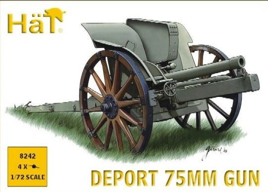 1/72 WWI Deport 75mm Gun (4) - HAT-8242