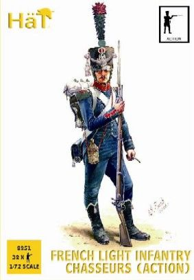 1/72 Napoleonic French Light Infantry Chasseurs Action (32) - HAT-8251