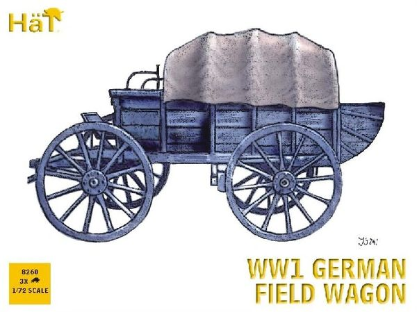 1/72 WWI German Horse Drawn Field Wagon (3 Sets) - HAT-8260
