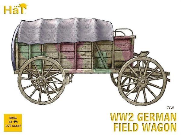 1/72 WWII German Horse Drawn Field Wagon (3 Sets) - HAT-8261