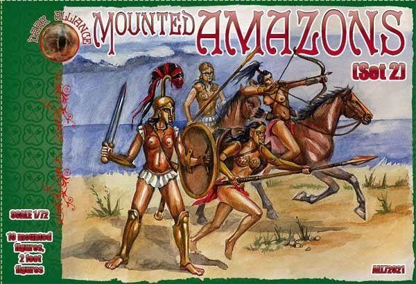 1/72 Amazons Mounted Women Warriors Set #2 Figures (10 Mtd, 2 foot) - ALLIANCE FIGURES 72021