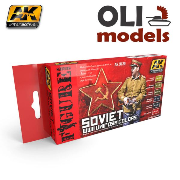 Figure Series SOVIET WWII UNIFORM COLORS Paint Set 6x17ml - AK Interactive 3120