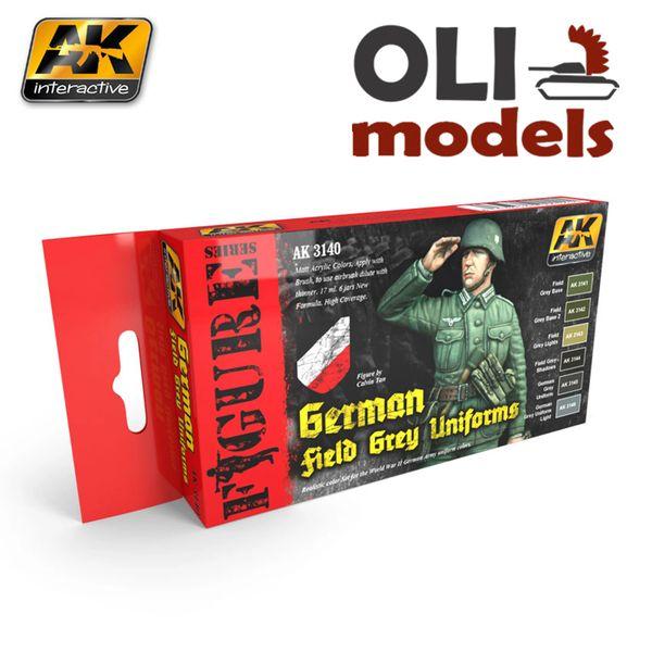 Figure Series GERMAN FIELD GREY UNIFORMS Paint Set 6x17ml - AK Interactive 3140