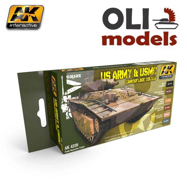 AFV: US ARMY & USMC CAMOUFLAGE COLORS Paint Set 6x17ml - AK Interactive 4220