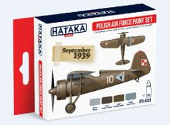 Polish Air Force 1919-1939 Camouflage Paint Set (4 Colors) 17ml Bottles - Hataka AS1