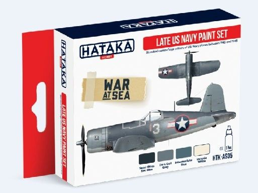 Late US Navy 1943-1945 Camouflage Paint Set (4 Colors) 17ml Bottles - Hataka AS5