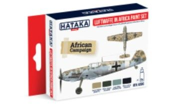 Luftwaffe in Africa Camouflage Paint Set (4 Colors) 17ml Bottles - Hataka AS6
