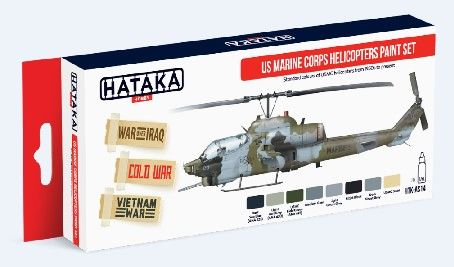 US Marine Corps Helicopters Paint Set (8 Colors) 17ml Bottles - Hataka AS14
