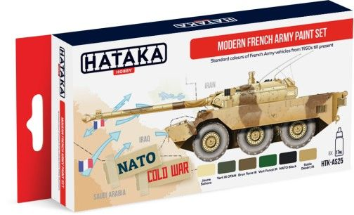 Modern French Army Vehicles 1950s-Present Paint Set (6 Colors) 17ml Bottles - Hataka AS25