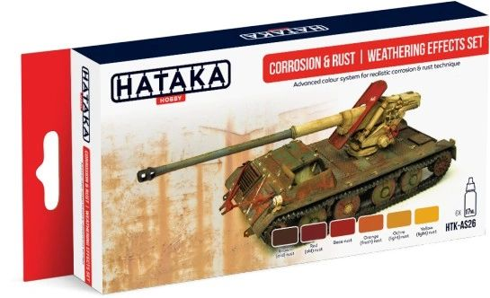 Corrosion & Rust Weathering Effects Paint Set (6 Colors) 17ml Bottles - Hataka AS26