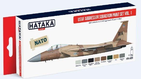 USAF Aggressor Squadron F15/F16 Fleet Vol.1 Paint Set (8 Colors) 17ml Bottles - Hataka AS29
