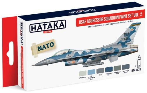 USAF Aggressor Squadron F15/F16 Fleet Vol.2 Paint Set (6 Colors) 17ml Bottles - Hataka AS30