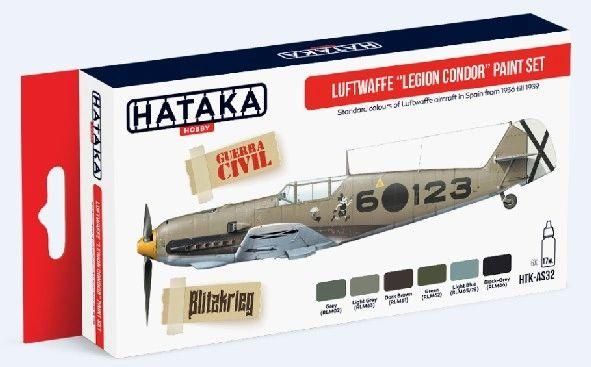 Luftwaffe Legion Condor Spain 1936-1939 Paint Set (6 Colors) 17ml Bottles - Hataka AS32