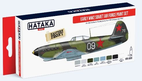 Early WWII Soviet Air Force 1937-1943 Paint Set (8 Colors) 17ml Bottles - Hataka AS33