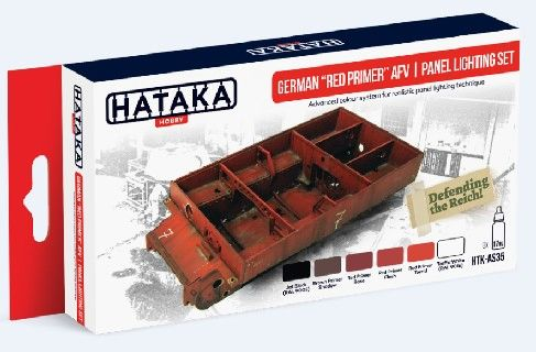 German Red Primer AFV Panel Lighting Paint Set (6 Colors) 17ml Bottles - Hataka AS35