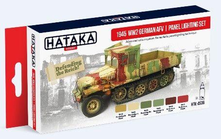 1945 WWII German AFV Panel Lighting Paint Set (6 Colors) 17ml Bottles - Hataka AS36