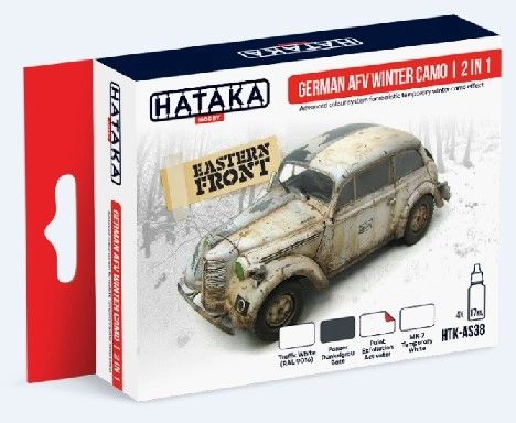 German AFC Winter Camouflage Effects 2 in 1 Paint Set (4 Colors) 17ml Bottles - Hataka AS38