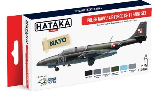 Polish Navy Air Force TS11 Camouflage Paint Set (6 Colors) 17ml Bottles - Hataka AS46
