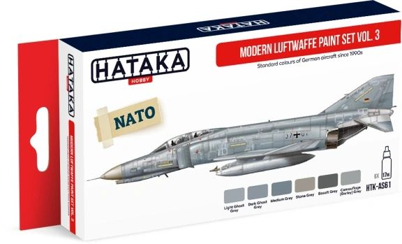 Modern Luftwaffe 1990s Vol.3 Paint Set (6 Colors) 17ml Bottles - Hataka AS61