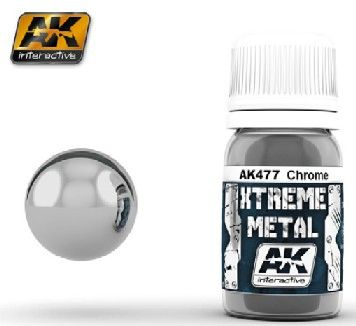 Xtreme Metal Chrome Metallic Paint 30ml Bottle - AK Interactive 477