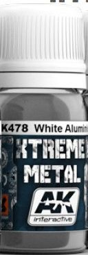 Xtreme Metal White Aluminum Metallic Paint 30ml Bottle - AK Interactive 478