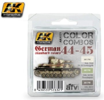 Color Combos: German Standard 44-45 Acrylic Paint Set (3 Colors) 17ml Bottles - AK Interactive 4171