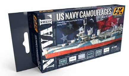 US Navy Camouflages Acrylic Paint Set (6 Colors) 17ml Bottles - AK Interactive 5000