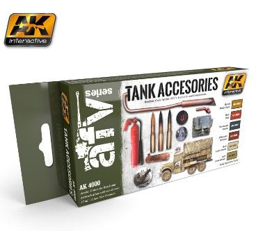 Tank Accessories Acrylic Paint Set (6 Colors) 17ml Bottles - AK Interactive 4000