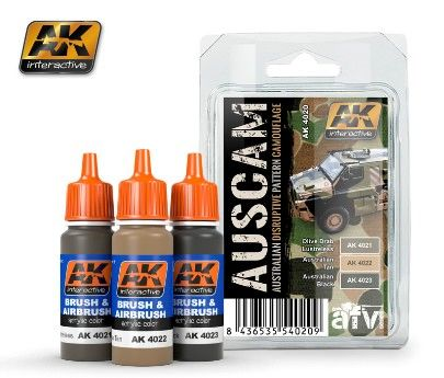 Australian Disruptive Pattern Camouflage Acrylic Paint Set (3 colors) 17ml Bottles - AK Interactive 4020