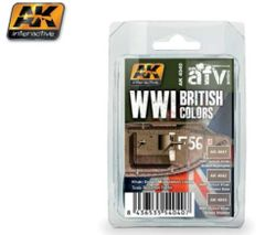 WWI British Colors Khaki Brown Modulation Acrylic Paint Set (3 colors) 17ml Bottles - AK Interactive 4040