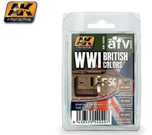 WWI British Colors Khaki Brown Modulation Acrylic Paint Set (3 colors) 17ml Bottles - AK Interactive 4040