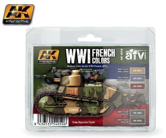 WWI French Colors Acrylic Paint Set (5 Colors) 17ml Bottles - AK Interactive 4050