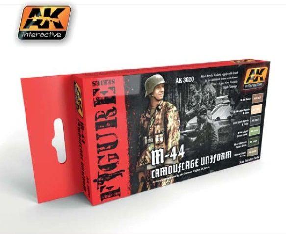 Figure Series: M44 Camouflage Uniform Acrylic Paint Set (6 Colors) 17ml Bottles - AK Interactive 3020