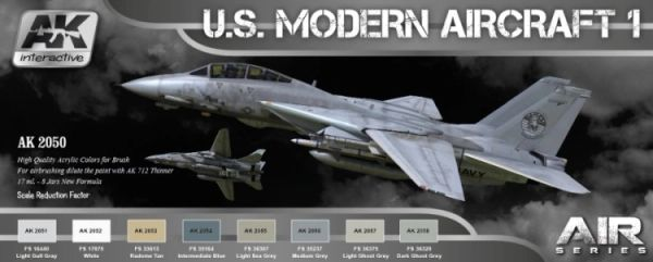 Air Series: US Modern Aircraft 1 Colors Acrylic Paint Set (8 Colors) 17ml Bottles - AK Interactive 2050