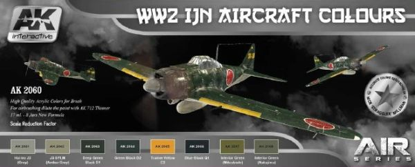 Air Series: WWII IJN Aircraft Colors Acrylic Paint Set (8 Colors) 17ml Bottles - AK Interactive 2060