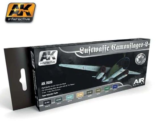 Air Series: Luftwaffe Camouflages Vol.2 Acrylic Paint Set (8 Colors) 17ml Bottles - AK Interactive 2020
