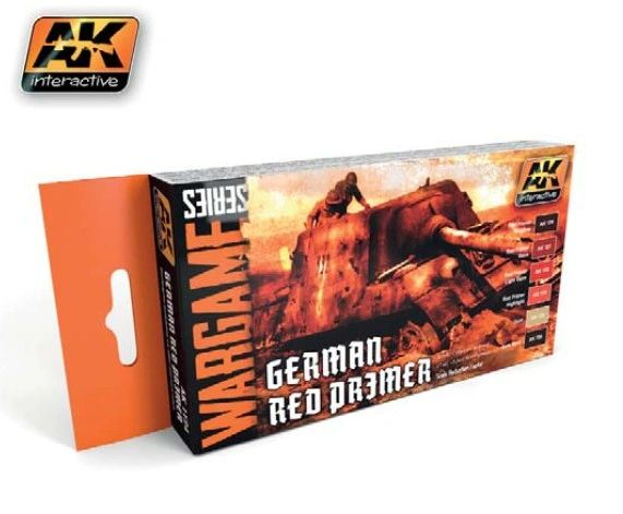 Wargame Series: German Red Primer Acrylic Paint Set (6 Colors) 17ml Bottles - AK Interactive 1124