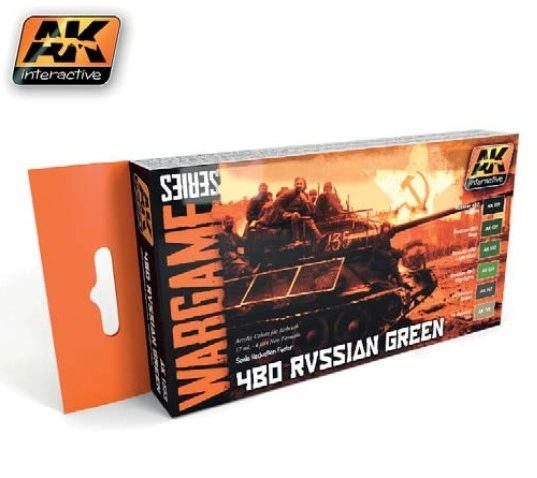 Wargame Series: 4BO Russian Green Acrylic Paint Set (6 Colors) 17ml Bottles - AK Interactive 1553