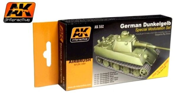 German Dark Yellow Modulation Acrylic Paint Set (6 Colors) 17ml Bottles - AK Interactive 552